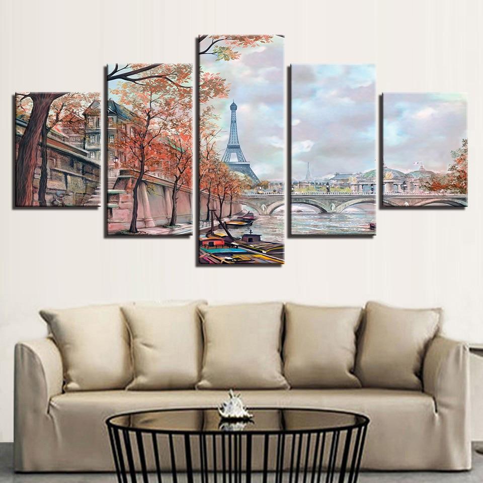 Eiffel Tower Paris With Bridge 5 Piece Multi Panel Canvas Wall Art Wallartbliss Com